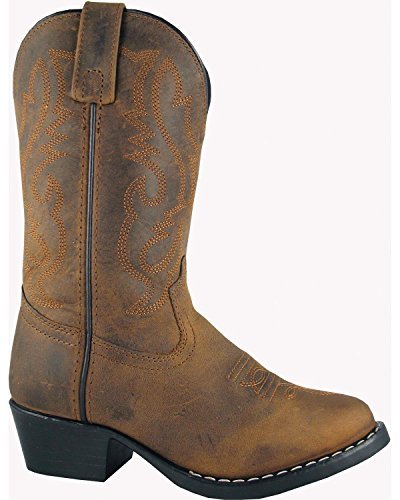 Distress Leather Footwear - Smoky Children's Kid's Oiled Distress Brown Leather Western Cowboy Boot