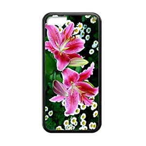 Pink Lily Fresh Flower Black Phone Case for Iphone 5C