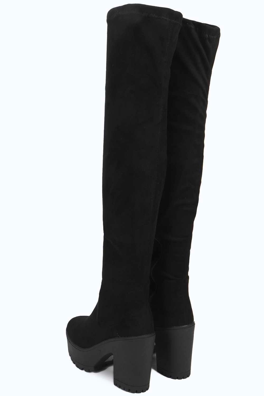 Grau Damen Scarlette Overknee-stiefel Mit Profilsohle - 7 Jp8Ixk02
