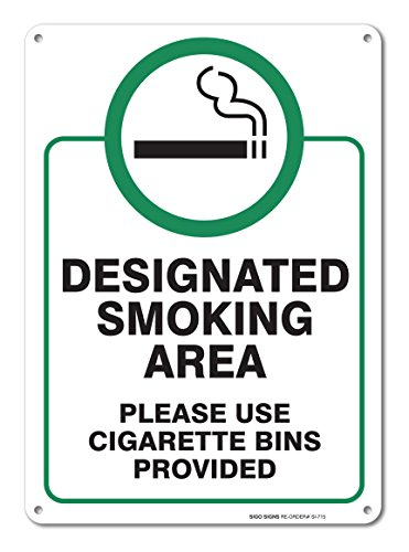 """Designated Smoking Area Sign, Large 10x14"""" Aluminum, for Indoor or Outdoor Use - by SIGO Signs from Sigo Signs"""