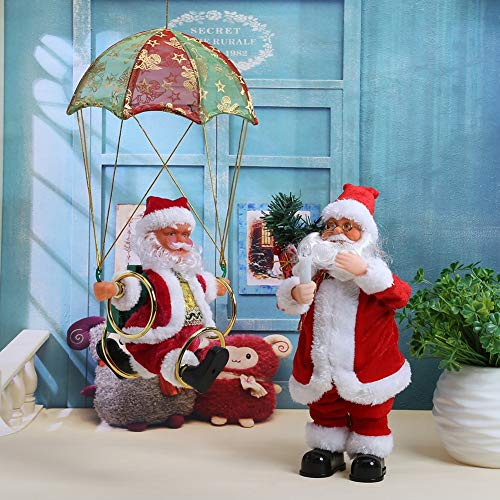 Electric Parachute Santa Claus Plush Doll Navidad Decoration Christmas Tree Ornament Christmas Kids ()