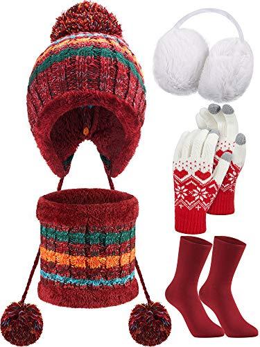 SATINIOR Frauen Winter Set Strickmütze Mütze Schal Warme Ohrenschützer Touchscreen Handschuhe und Strümpfe, 5 Stücke Insgesamt