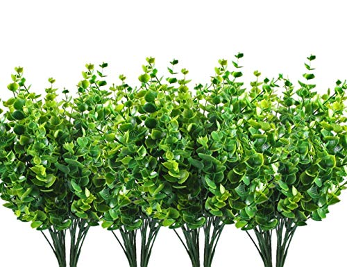 LoveniMen Artificial Shrubs, Fake Plastic Greenery Plants Eucalyptus Leaves Bushes, Indoor Outdoor Outside Home Garden Office Verandah Table Arrangements Decor Decoration (Leaf Wall Planter)