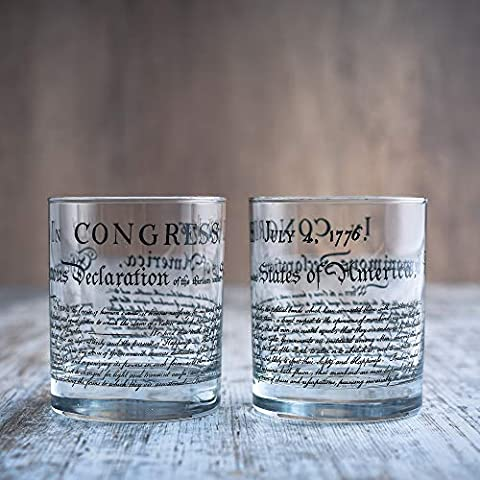 Greenline Goods Whiskey Glasses – Declaration of Independence (Set of 2) | 10 oz Tumblers – American US Patriotic Gift…
