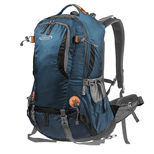 G4Free 50L Outdoor Backpack Camping Climbing Hiking Backpack for Backpacker Unisex Bag with Rain Cover(Dark Green) ()