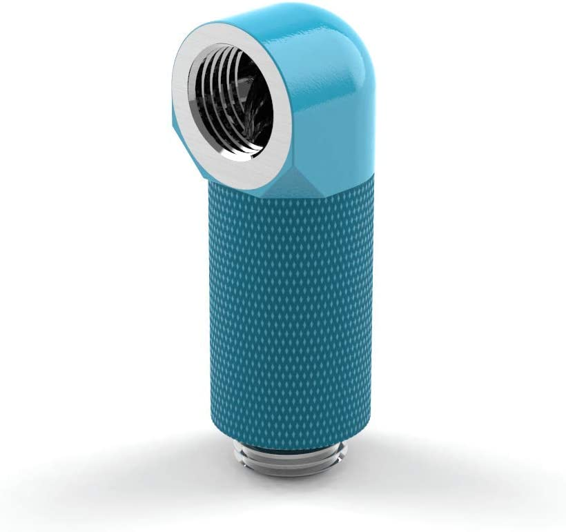 PrimoChill Male to Female G1//4 90 Degree Rotary 30mm Extension Elbow Fitting Sky Blue