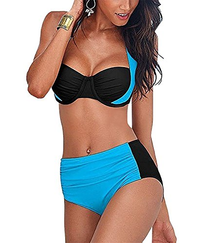 Tpring Nice Womens Halter 2 Piece Bandage Push Up Padded Bikini Sets Swimwear Comfortable Light BlueSmall