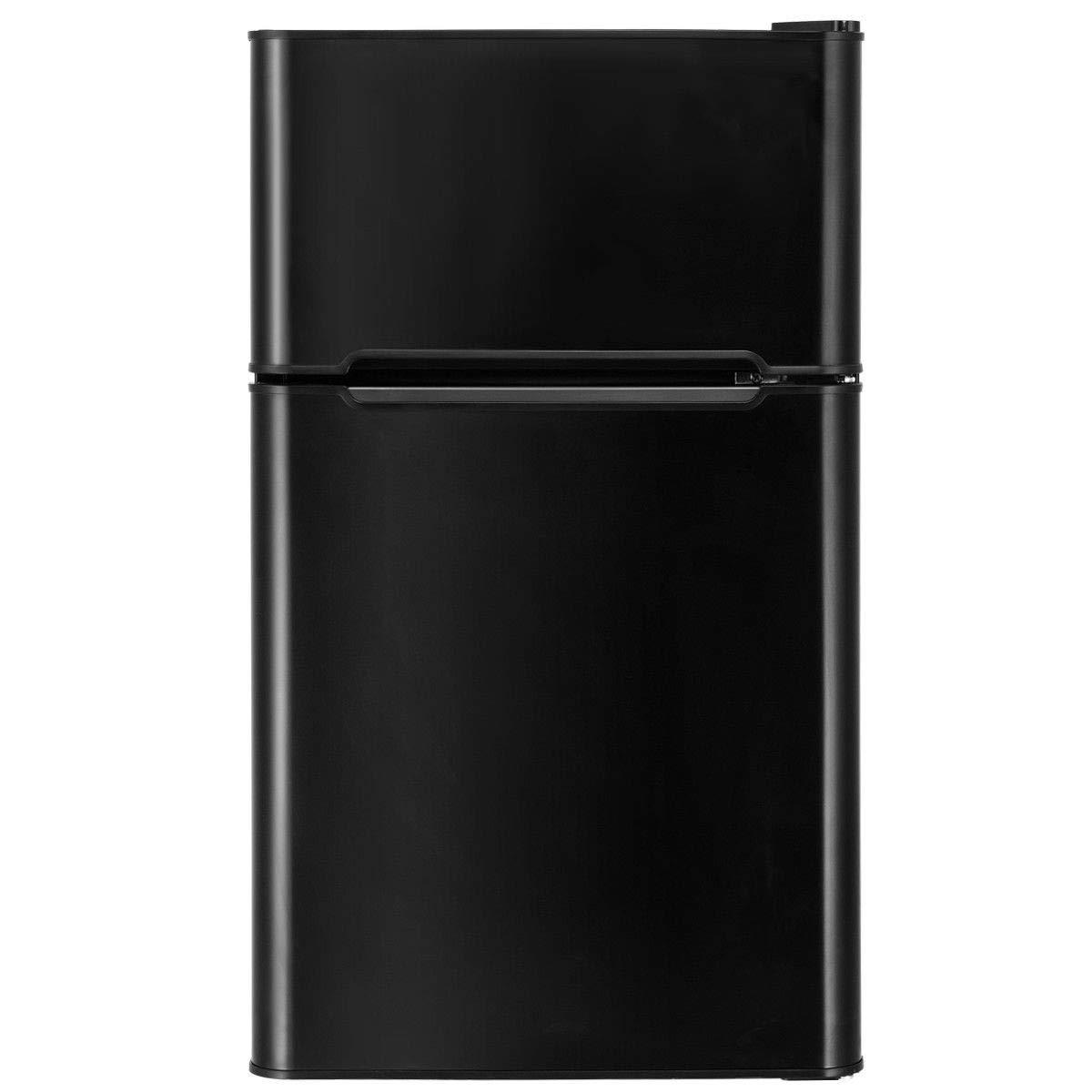Mini Refrigerator 3.2 cu ft with Freezer 2 Door Stainless Steel Double Door Compact Mini Refrigerator (Black)