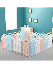 Foldable Baby Playpen Fence, 18-Panel Safe Gates Baby/Kids Fence,Foldable Kids Safety Activity Center Playard with Locking Gate and Non-Slip Rubber Bases, Adjustable Shape,Portable Design for Indoor Outdoor Use(63*63in)