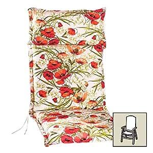Cojín respaldo alto Pigalle liso rojo, aprox. 120x 50x, 8,5cm, recubrimiento Pigalle 904–0003para respaldo alto para muebles de jardín, de algodón para respaldo alto