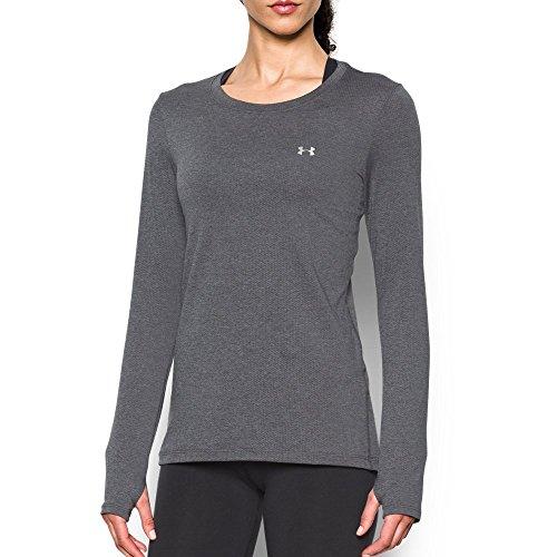 Under Armour Womens HeatGear Armour Long Sleeve Shirt, Carbon Heather/Metallic Silver, Medium