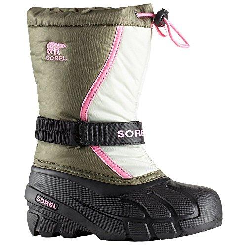Sorel Youth Snow - SOREL Girls' Youth Flurry Snow Boot, Hiker Green, Bubblegum, 3 M US Big Kid