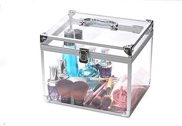 Amazon Com Portable Travel Cosmetic Case Lockable Acrylic Vanity