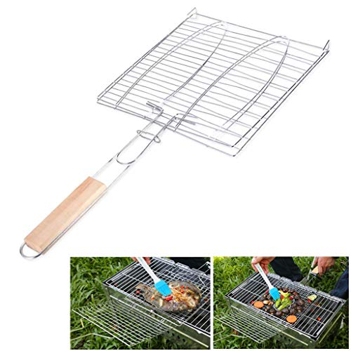 - IronBuddy BBQ Grill Basket with Handle Stainless Steel Barbecue Gird Net Folder Mesh Pan for Grilling Fish, Vegetables, Steak, Shrimp, Chops, Meat