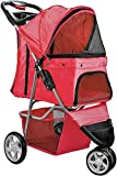 Paws & Pals OxGord 3 Wheeler Pet Stroller for Dogs and Cats, Scarlet Red
