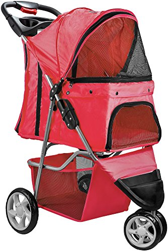 Paws & Pals OxGord 3 Wheeler Pet Stroller for Dogs and Cats, Scarlet Red by Paws & Pals