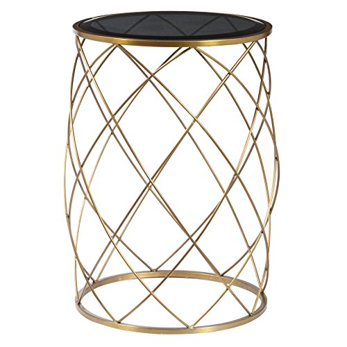 Pulaski Convex Round Accent Table with Smoked Glass - Table Brass Pulaski