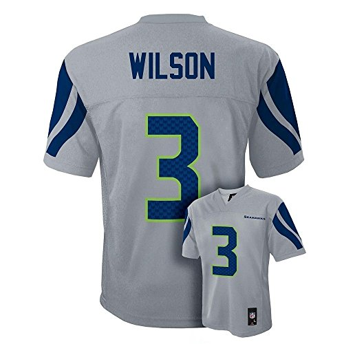 Authentic Alternate Custom Jersey - Outerstuff Russell Wilson Seattle Seahawks #3 Youth Mid-Tier Alternate Jersey Grey (Youth XLarge 18/20)