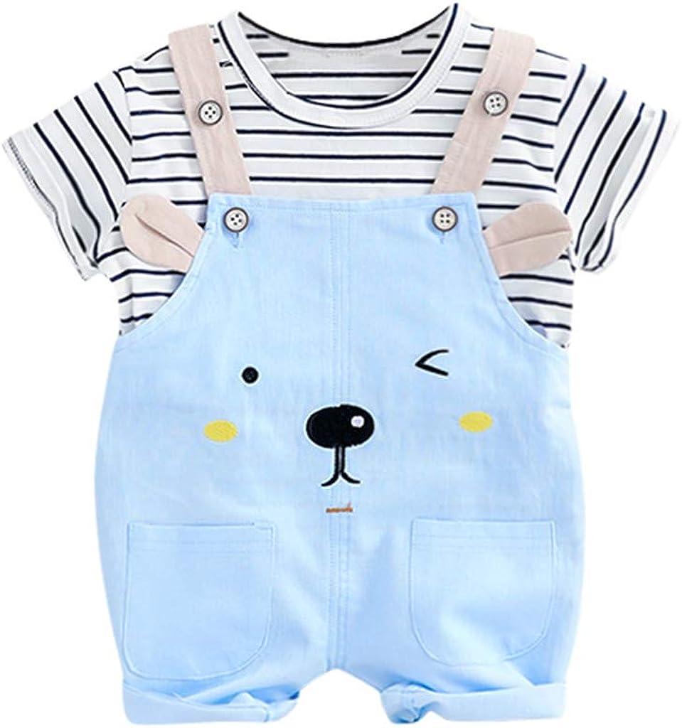 Berimaterry Conjuntos Bebé NiñO,onjuntos para bebé niños Unisex Ropa para recién Nacidos Verano Camisetas + Tirantes de Pantalones Corta para bebés niño Impresion Dinosaurs de1-5 años 0-24m