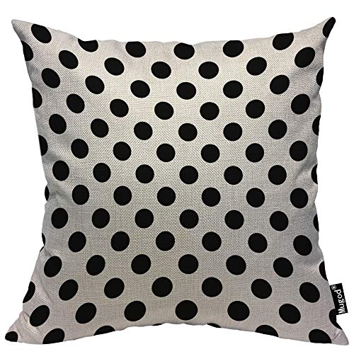 Parallel Dot - Mugod Polka Dots Throw Pillow Case Geometric Parallel Circle Spots Classic Black and White Decorative Cotton Linen Square Cushion Covers Standard Pillowcase Couch Sofa Bed Men/Women 18x18 Inch