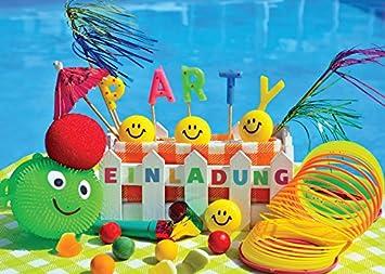 8 Einladungskarten zum Kindergeburtstag Schwimmbad Party / Pool ...