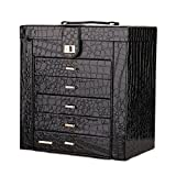 Black Large Deluxe Synthetic Crocodile Leather Jewelry Box Armoire Cabinet Necklace Organizer | Jewelry Rings Necklace Trinket Storage Display Travel
