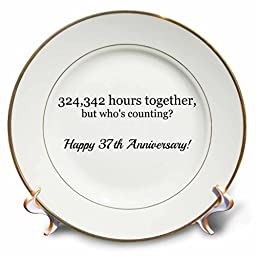 3dRose cp_224682_1 Happy 37th Anniversary-324342 Hours Together-Porcelain Plate, 8\