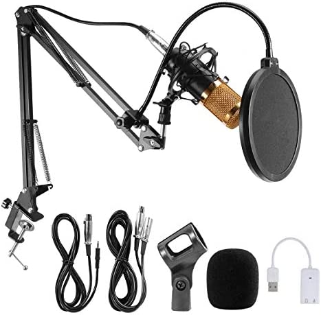 Condenser Microphone Professional Studio Broadcasting Recording MicAdjustable Microphone Suspension Scissor Arm Stand Shock Mount Mounting Clamp Kit and USB Audio Adapter BM-800