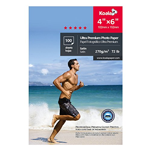- Koala Photo Paper 4X6 inch 100 Sheets Heavyweight Satin RC Waterproof 270gsm,Compatible with All Inkjet Printer