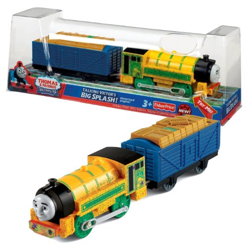 """isher Price Year 2013 Thomas and Friends Trackmaster """"TALKING"""" Series Motorized Railway Battery Powered Tank Engine Train Set - """"Big Splash!"""" TALKING VICTOR with Timber Loaded Wagon 토마스 talking 빅터 빅"""