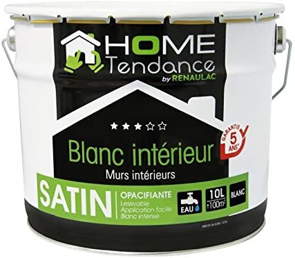 Peinture Murale 10l Blanc Satin Lessivable Home Tendance By Renaulac