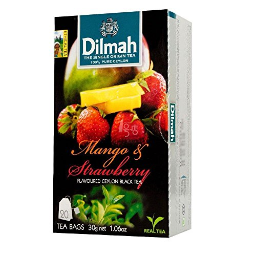 Ceylon Teas Strawberry Tea - Dilmah, Tea, Single Origin Pure Ceylon Tea (Mango & Strawberry , 20 Tea Bags (Pack of 3))