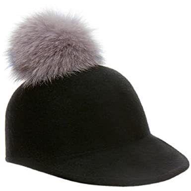 95e5ea25a00 Image Unavailable. Image not available for. Color  Helene Berman Black Fox Fur  Pom Pom Cap