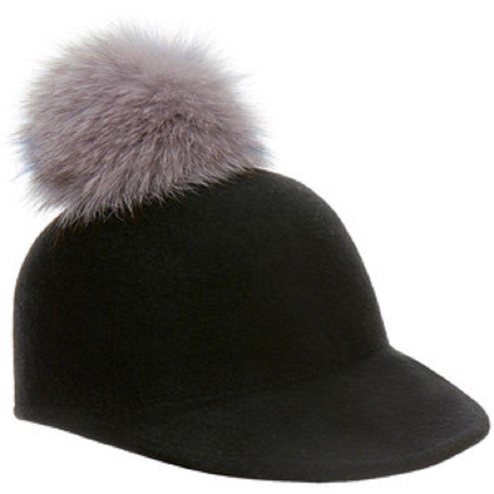 Helene Berman Black Fox Fur Pom Pom Cap