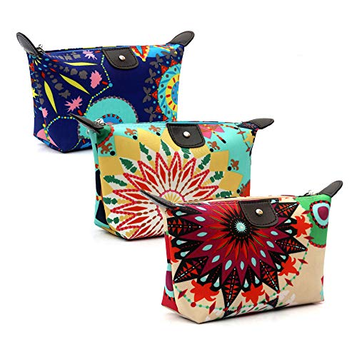 HOYOFO Women's Travel Cosmetic Bags Small Makeup Clutch Pouch Cosmetic and Toiletries Organizer Bag Pack of 3, Z set
