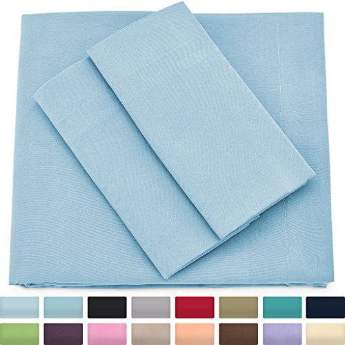 Premium Bamboo Bed Sheets - Queen Size, Baby Blue Sheet Set - Deep Pocket - Ultra Soft Cool Bedding - Hypoallergenic Blend From Natural Bamboo - 1 Fitted, 1 Flat, 2 Pillow Cases - 4 Piece