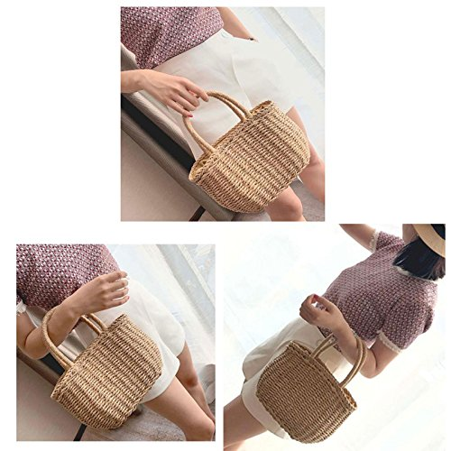 Basket Abuyall Handbags Shopping Boho Beach Pure Handmade Woven Tote Straw Casual Bag Buckle Woven Summer Pt2 X4wq7z4r