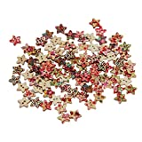 GBSELL 100pcs 2 Holes Mixed Color Five-pointed Star Wooden Buttons Sewing Scrapbooking DIY