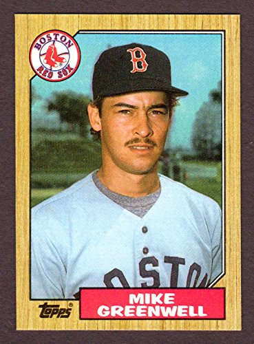 Mike Greenwell 1987 Topps Rookie Card **Left Fielders in order: Ted Williams, Carl Yastrzemski, Jim Rice, Mike Greenwell** (Red Sox)