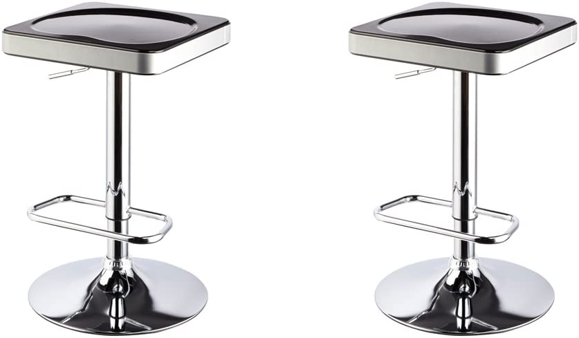 Roundhill Furniture I-Stool ABS Adjustable Swivel Barstools, Black, Set of 2