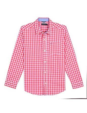 Nautica Toddler Boys' Long Sleeve Gingham Woven Shirt, Mason Dark Coral, 2T