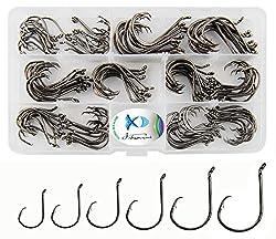 150pcsbox Circle Hooks 7384 2x Strong Custom Offset Sport Circle Hooks Black High Carbon Steel Octopus Fishing Hooks-size:#1-50