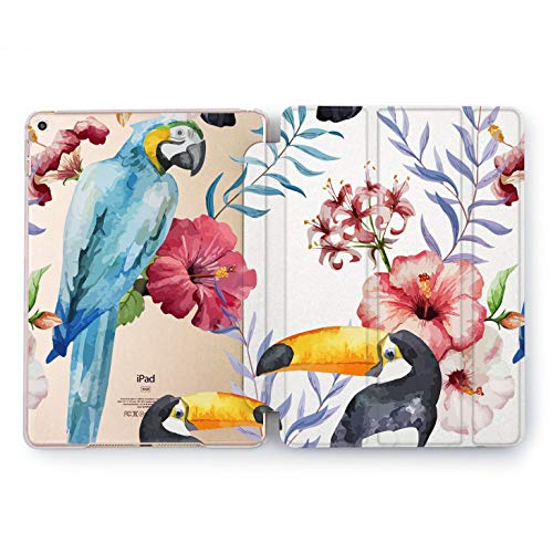 Wonder Wild Tropical Parrot iPad Mini 1 2 3 4 Watercolor Print Nature Floral Green Air 2 Pro 10.5 12.9 2018 2017 9.7 inch 5th 6th Generation Protective Cover Summer Plastic Birds Design Flyers Art