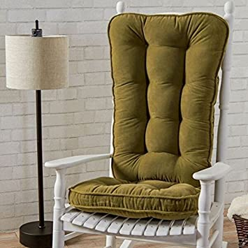Casual Polyester Moss Microfiber Reversible Rocking Chair Jumbo-size Cushion Set, Green
