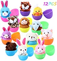 FunsLane 12 Pack Prefilled Mini Animal Plush Easter Eggs, Bright Colorful Large Plastic Surprise Eggs Easter Hunt Toys Set f
