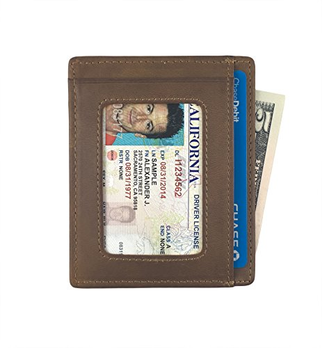 Andar Leather Slim Wallet with ID Window, Minimalist Front Pocket RFID Blocking Card Holder Made of Full Grain Leather (Light Brown) ()