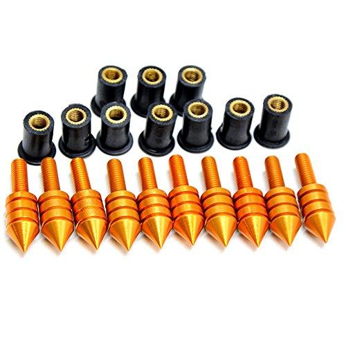 Windscreen Spikes (Decal Story 10 X Gold Windscreen Spike Bolts Well Nuts For CBR 600 F3 F4I 1000 RR YZF R1 R6 GSXR 600 750 1000 1300 Hayabusa Ninja ZX 6R 10R 12R 14R Z800 Z900 Z1000 Z750 Z300)