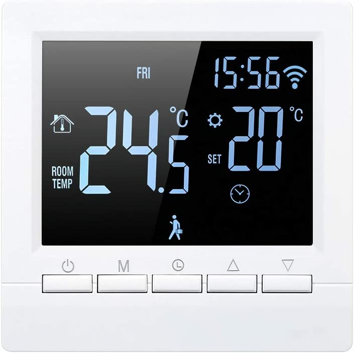 WIFI Thermostats for Home Manual Smart Thermostat Digital Temperature Controller LCD Display Week Programmable Electric Floor Heating Thermostat for Home School Office Hotel 4.3 Inch