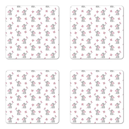 (Ambesonne Elephant Nursery Coaster Set of 4, Baby Elephants Playing with Butterflies Design Pattern, Square Hardboard Gloss Coasters for Drinks, Grey Pale Pink White )