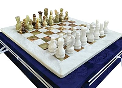 16 Inches White & Green Onyx Top Home Decor Ideas classic board games Chess Set – Handmade Marble Decor Chess Board Game Set – Non Othello Game - Non Backgammon Board Game – Non wooden